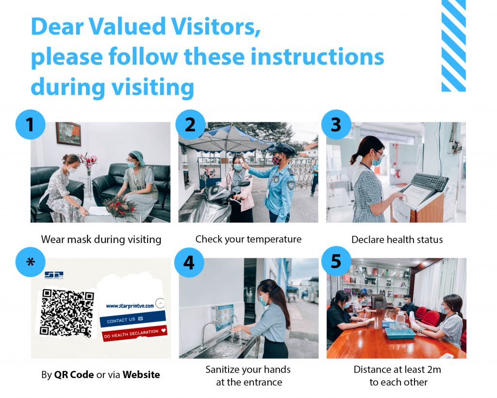 instructions to cope with covid-19 during visiting Starprint Vietnam