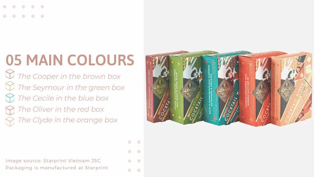 5 main colours of H&L folding carton packaging including blue, green, orange, red, brown