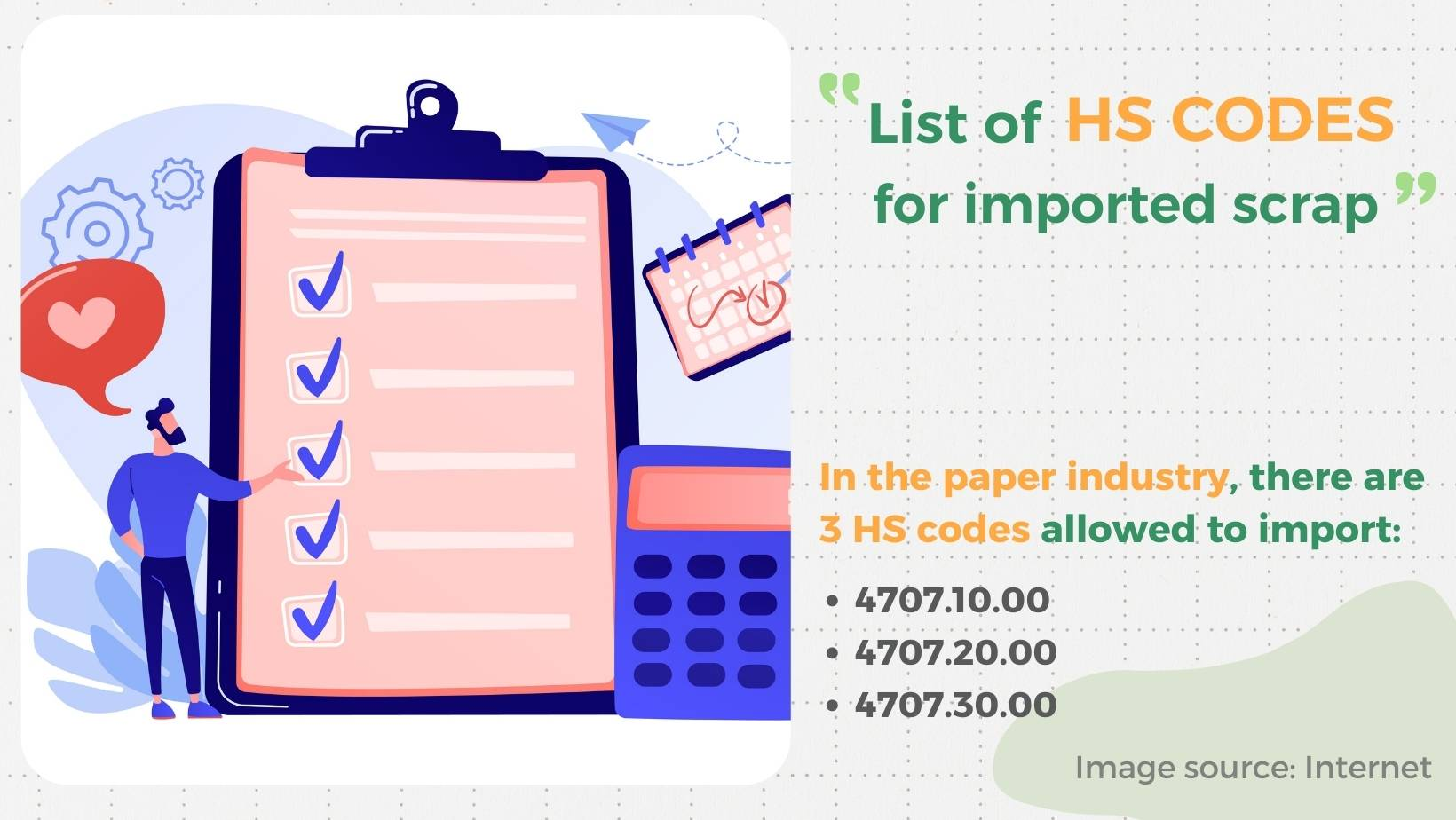 HS codes for imported scrap in paper industry