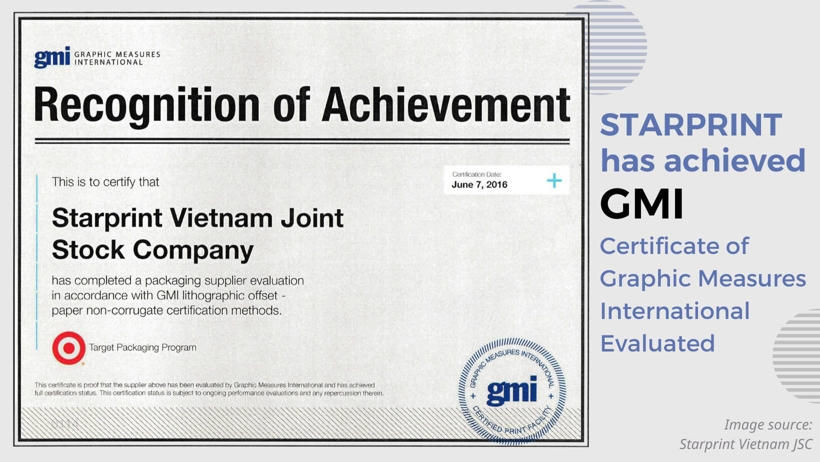 starprint achieved gmi in 2016