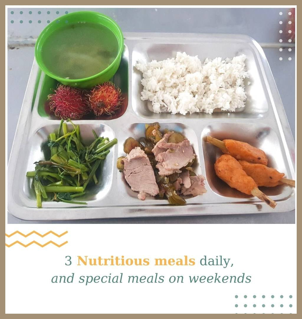 nutritious meals daily and special meals on weekends