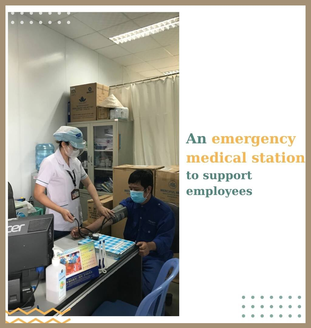 an emergency medical station to support employees when having health problems