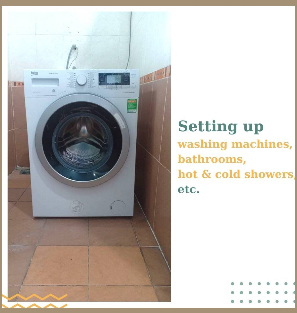 equip with washing machines, bathrooms, hot & cold showers